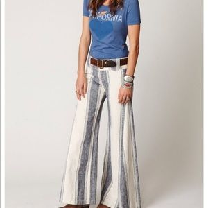 FREE PEOPLE EXTREME FLARE LINEN STRIPE PANTS 4